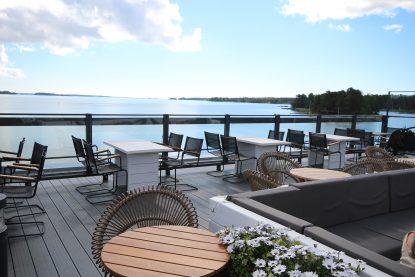 Beautiful roof terrace of café-restaurant Nokkalan Majakka in Espoo..