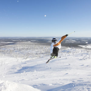 Skiing in great scenery in the slopes of Levi Lapland.