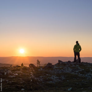 Beautiful sunset when hiking late summer in Levi Lapland.